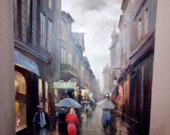 "Original oil painting: Cityscape ""Bystreet"", canvas, varnish"