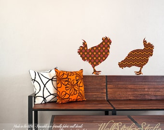 Roosters Wall Decal. REUSABLE FABRIC Wall Decals, Pattern Wall Decal, Peel and Stick Wall Decals, Eco-friendly, 703