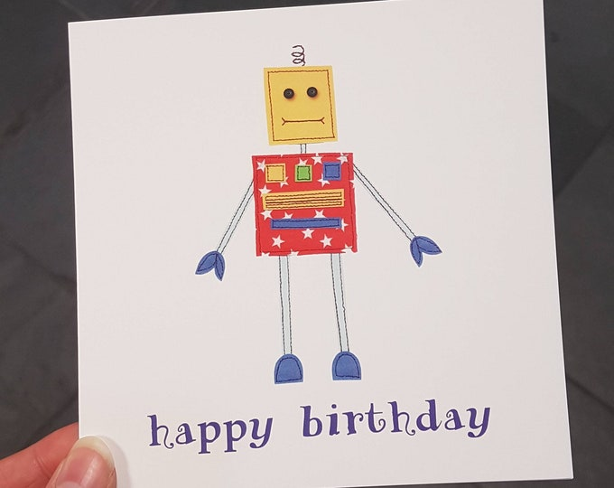 Robot Birthday Card • Printed from Original Artwork • 6 inch square with brown kraft envelope • 300gsm