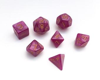 MINI Plum Purple Pearl Dice set - Dungeons and Dragons dice set - Polyhedral dice set - Pathfinder Dice Set