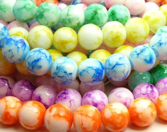 Mixed Color Round Glass Beads - 16mm Smooth Mottled Bohemian Beads - 14pcs - BN22