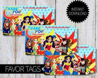 SuperHero Girls Birthday Party PRINTABLE Favor Tags- Instant Download | DC comics | DC Super Hero Girls | Super Girls