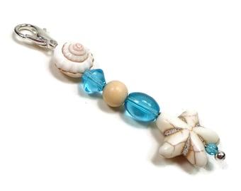 Purse Charm Purse Jewelry Beaded Key Fob Blue Zipper Pull Starfish Scissor Fob Pocketbook Decoration