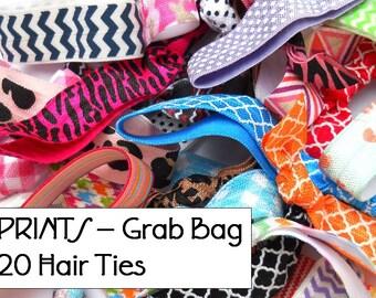 GRAB BAG - 20 Random PRINTED Elastic Hair Ties / Bracelets / Hair Band - Anthropologie Inspired
