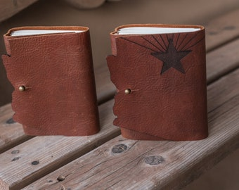 Arizona Leather Journal | State of Arizona Book | Leather Journal | Arizona Leather Book | Handstitched Leather Journal