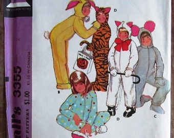 Easy Sew Childs Animal Costume w/ Detachable Headpiece: Mouse, Bunny, Cat, Tiger Size 2 Vintage 1970s McCalls Pattern 3355 UNCUT