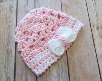 Baby girl crochet hat, lacy hat with bow, pink and white, photo props, Preemie - 12 month, sunhat, spring summer hat, shower gift, baby girl