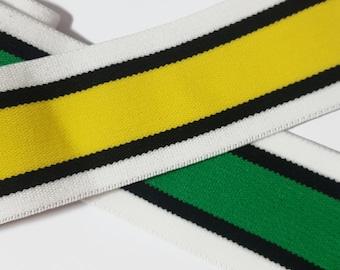Striped Stretch Rubber Trim in Yellow or Green, Fashion Striped Trim