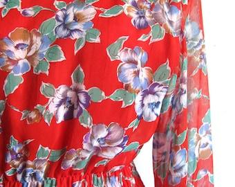 Vintage 1980s Red Floral Dress Saint Jacques Chiffon Sheer Flower 80s Designer Dress 12