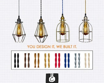 Industrial Cage Pendant Light - Custom Pendant Light, Single Pendant, Kitchen Lighting
