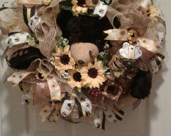 Bear Wreath with Bees and Honey Skep