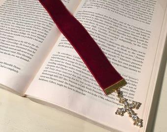 Velvet bookmark with vintage cross