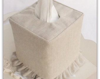 Natural Flax Linen ruffled tissue box cover