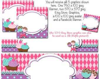 DIY Blank Etsy Banner and Facebook Set - Tasty Cakes - Customize for your Store