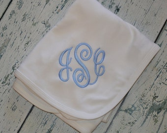 Custom Boutique Monogrammed Baby Receiving Blanket  YOU DESIGN