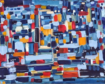 Large ORIGINAL ABSTRACT Painting Blue Yellow and Red Painting Canvas Art Contemporary Art Modern Painting 30x40 Wall Art, Geometric Art