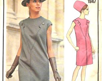 Vogue Paris Original Molyneux Dress Bust 36 Size 14 1947 Vintage Sewing Pattern 1960s