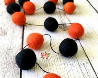 Felt Ball Garland, Halloween, Pom Pom Garland Orange, Black, Felt Ball Garland, Thanksgiving, Spooky Garland - 7 Ft.