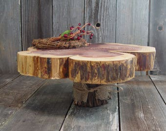 "Rustic Cake Stand, Tree slice + Stump, 15"" x 2"" height 6"", one of a kind, Texas rustic woodsy wedding, party, event, dessert"
