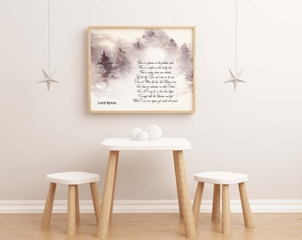 Lord Byron poem, fine art print, classic poetry, there is a pleasure in the pathless woods, literary gift, nature poem, trees art, verse