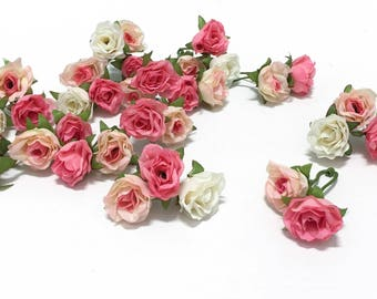 BEST PRICE - 34 Tiny Sweetheart Roses in Shades of Pink and Cream - MINIATURE Roses, Flower Crown, Hair Accessories, Flower Crown, Millinery