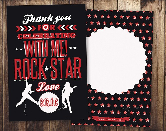 Thank You Card - Greeting Card - All occasion card - rockstar thank you card - birthday Thank you - Birthday Party Thank You Card, favor