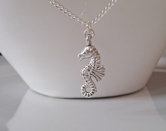 Seahorse necklace etsy seahorse necklace silver seahorse necklace silver necklace seaside necklace gifts for girls aloadofball Images