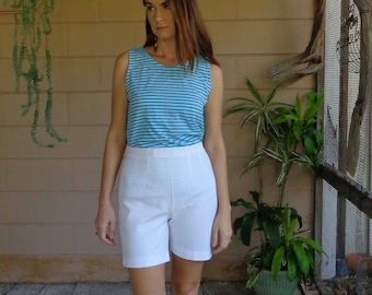 Vintage 70's Tank Top / Striped White &  Blue Shirt / Medium Large