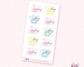 Pool Day mini sheet - 10 stickers for the Erin Condren, Personal planners, Travelers notebooks