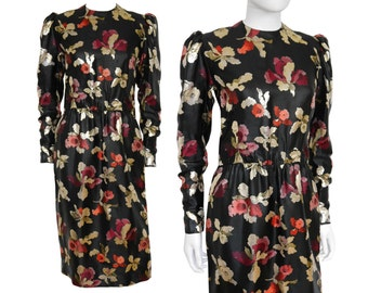 GIVENCHY Vintage Brocade Dress Black Metallic Floral Pattern US Size 4-6 XS Small