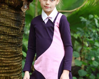 Designer dresses for girls/ New look long sleeve pink dress/ Semi formal dress Toddler boutique clothing/ Cute winter dress boutique outfits