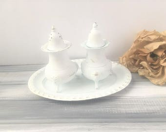 Repurposed Shabby Chic Salt and Pepper Shakers / Vintage Silver Salt and Pepper Shakers / Fine Dining Salt and Pepper Shakers