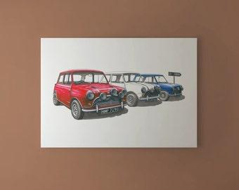 The Italian Job - Austin Mini Cooper S Mk1 CANVAS PRINT