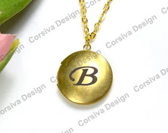 Personalized Engraved Initial Round Locket 20mm Raw Brass
