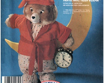 McCall's Sewing Pattern 2738  Teddy Ruxpin - Sleepwear outfit package   Uncut