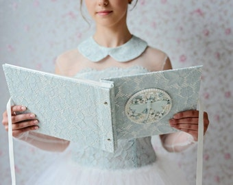 Luxury lace photo album/ girl memory book /hard cover/Sophie Hallette lace/lace notebook/ girl gift ideas/ gift for her/ from OreDesignSpace