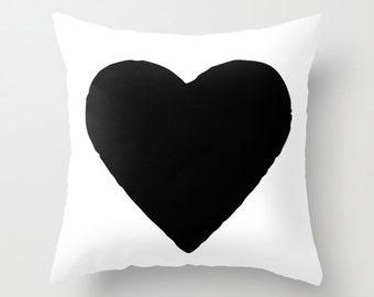 Heart Pillow, Canvas or Velvet Pillow Cover 18x18 or 22x22, Black and White, Dorm Pillows, Girls Bedroom Decor, Kids Pillows