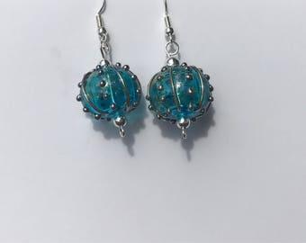 Stunning Teal Lampwork handmade Earrings
