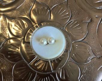 White Fresh Water Pearl Stud Earrings