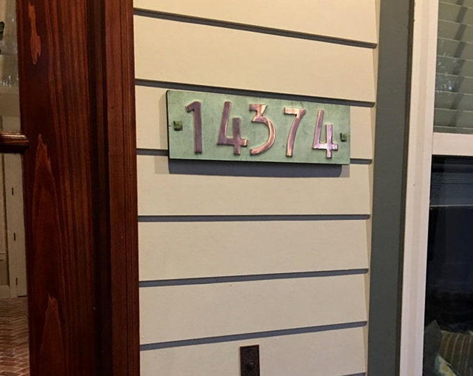 """Mission Mackintosh copper plaque  3""""/75mm, 4""""/100mm high nos. with plywood back, custom made, 5 x numbers, for brick and stucco g"""