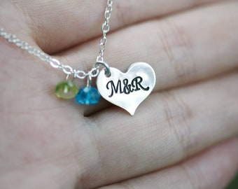 Personalized initial heart necklace,hand stamped monogram heart,custom birthstones,anniversary gift,birthday gift,best friends,couple love