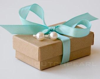 Genuine pearl earrings studs 1 pair pearls for bridesmaids sterling silver  pearl studs dutchpearl