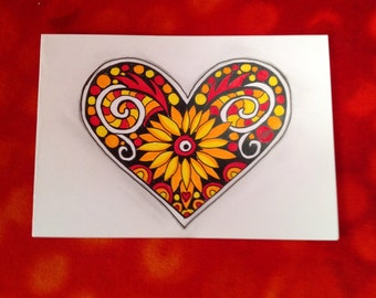 Heart cards for your loved ones in Zentangle technique coloured