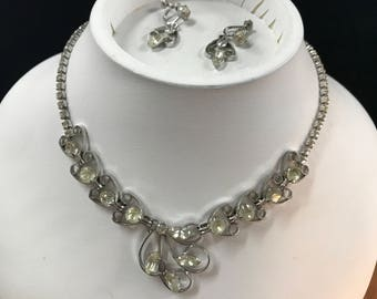 Vintage Sterling & Rhinestone Necklace and Earring Set by Phyllis