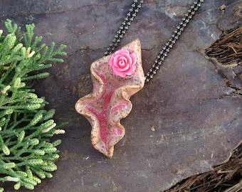 Dancing Yoni Ceramic Vagina Necklace Speckled Pink Rose