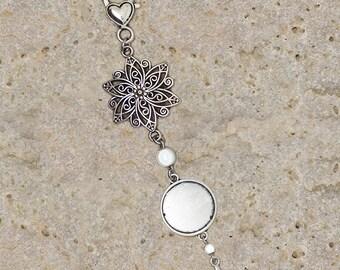 bag charm or key holder round cabochon 20 mm