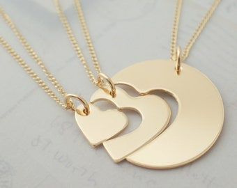 Mother's Day Jewelry Gifts - Three Generation Necklace Set in 14K Gold Filled by Eclectic Wendy Designs