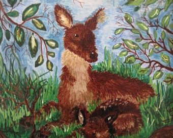 You know its Springtime, Mama Deer with Fawn a Acrylic paint artwork
