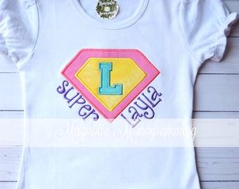 Girls Monogrammed Super Hero Shirt, Girls Super Hero Shirt, Super Hero Shirt, Pink Super Hero Shirt, Super Hero Applique Shirt, Super Hero