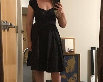50's Black Swing Off Shoulder Dress